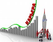 The Graph Of Career Growth. Graph Of Rapid Growth With Word Career (russian Language) And Rocket. 3d poster
