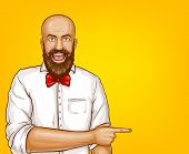 Vector Pop Art Excited Bald Man With Beard In White Shirt Points With Finger At Sales, Discounts. Sh poster