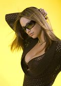 pic of breast exposed  - Studio shot of young brunette woman with cleavage exposed - JPG