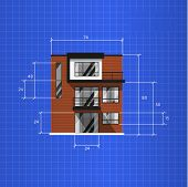 Architectural Plan Isolated On Blue Background Illustration. Front View Of Three Storey House. Archi poster