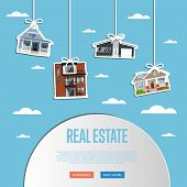 Real Estate Agency Website Template Illustration. Commercial Background. Real Estate Business Concep poster