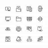 Discovery Icons. Set Of Line Icons. Video Content, Data Exchange, Online Service. Discovery Concept. poster