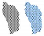 Постер, плакат: Dotted Dominica Island Map Variants Vector Territorial Plans In Black Color And Blue Color Tints A