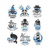Nautical Logo Original Design Set, Retro Badges For Nautical School, Sport Club, Business Identity,  poster