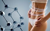 Woman With Perfect Body Near Big Molecule Chain. Slimming Concept. Improvement Of Metabolism Concept poster