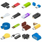 Usb Flash Drive Icons Set. Isometric Illustration Of 16 Usb Flash Drive Vector Icons For Web poster