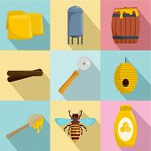 Honey Production Icons Set. Flat Set Of 9 Honey Production Vector Icons For Web Isolated On White Ba poster