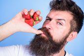 Fresh Juice Concept. Man Strict Face Enjoy Fresh Drink Strawberry Juice. Man Drinks Strawberry Juice poster