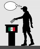 Mexican Voter Young Man Voting For Election In Mexico With Thought Bubble. All The Silhouette Object poster