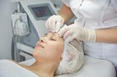 Face Lifting. Young Woman Getting Facial Massage In The Cosmetology Salon. Procedure Of Facial Massa poster
