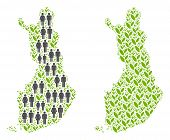People Population And Grass Finland Map. Vector Collage Of Finland Map Organized Of Randomized Man A poster
