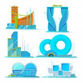 Futuristic Buildings Set. Vector Flat Pictures Of Various Stylized Buildings. Architecture Stylizati poster