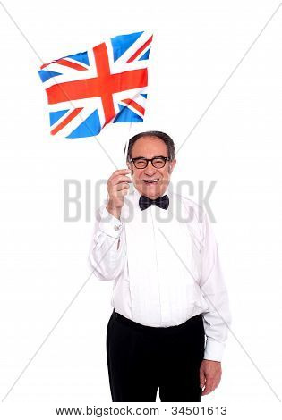 Man Cheering For United Kingdom. Waving Flag