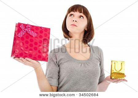 Pensive Woman With Shopping Bags