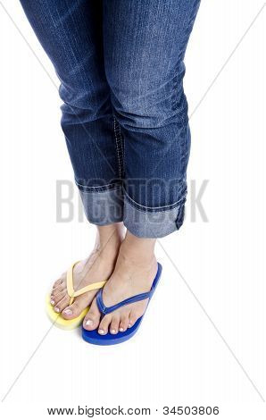 Woman Wearing Blue Jeans and Flip Flop