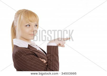 Closeup portrait of cute young blonde business woman smiling