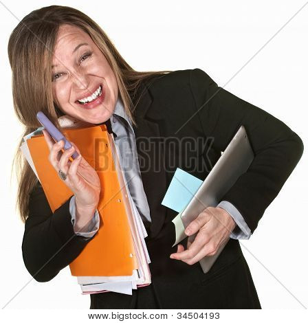 Smiling Multitasking Woman