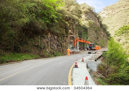 Road construction. work to expand the road