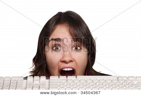 Scared Person And Keyboard