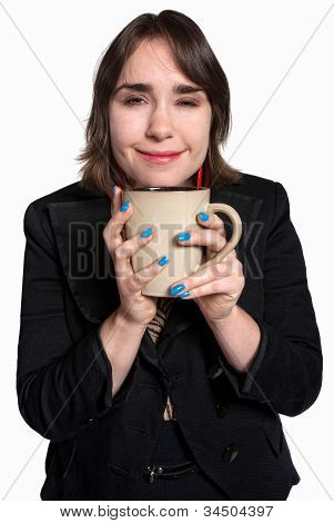 Happy Worker With Cup