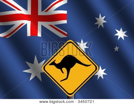 Kangaroo Sign With Australian Flag