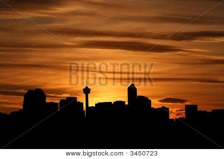 Calgary Skyline At Sunset