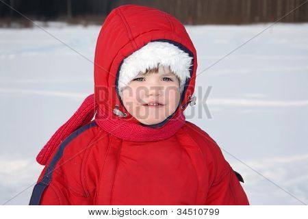 Little Serious Girl Stands Near Forest At Winter And Looks Into Distance