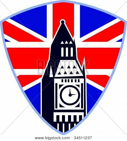Big Ben London Clock Tower British Flag