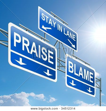 Praise Or Blame Concept.