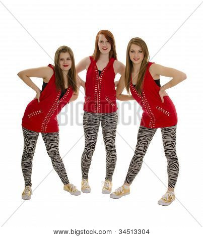 Smiling Hip Hop Girls In Red