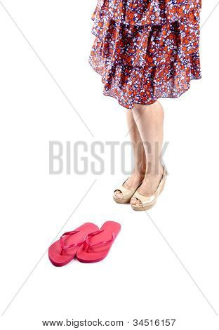 Woman Wearing Floral Skirt and Platform Sandals