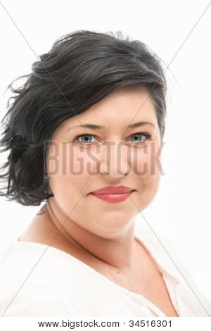 Woman Smiling In Pleasure