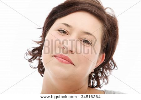 Close Up Portrait Of Positive Woman
