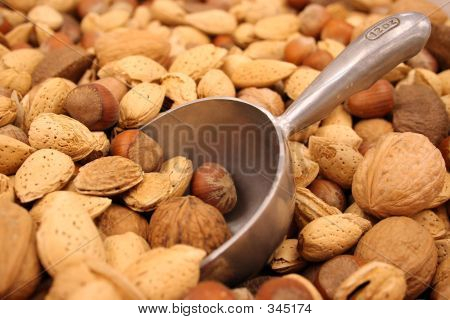 Mixed Nuts In Shell With Metal Scoop