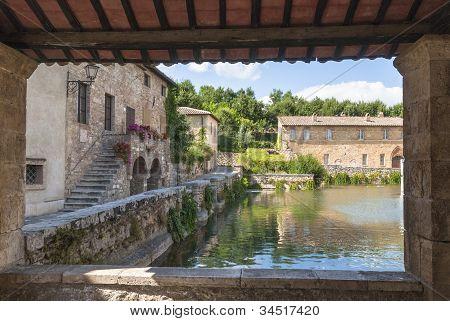 Bagno Vignoni, Toskana, Italien.