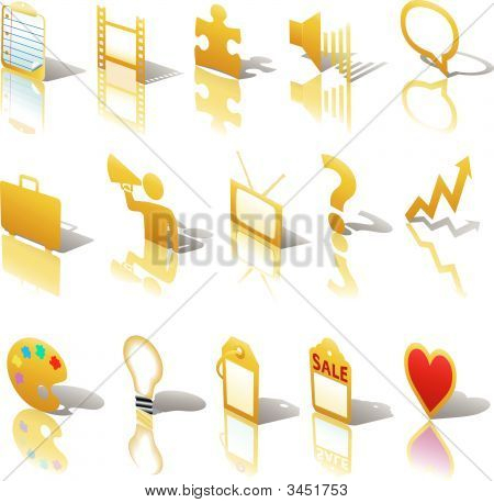 Communications Media Business Icons Set Angled Gold