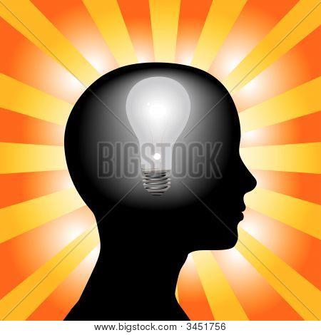 Idee Frau Geist Glühbirne In Silhouette Kopf auf Strahlen Background.Eps