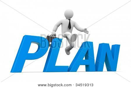 3d person jumps through the word plan