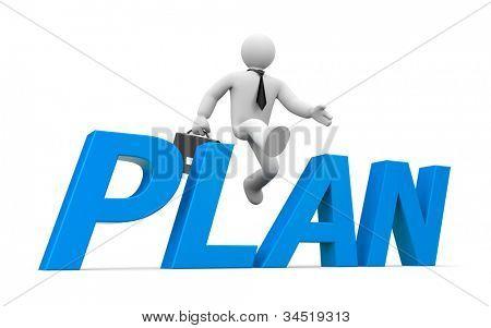 persona 3D salta a través del plan de la palabra