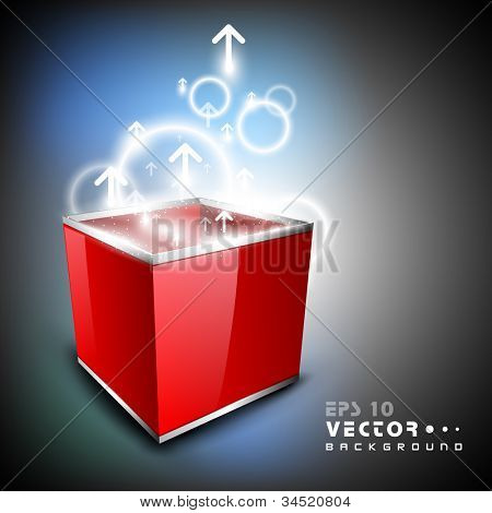 3D red opened box with full of shine, Abstract background. EPS 10.