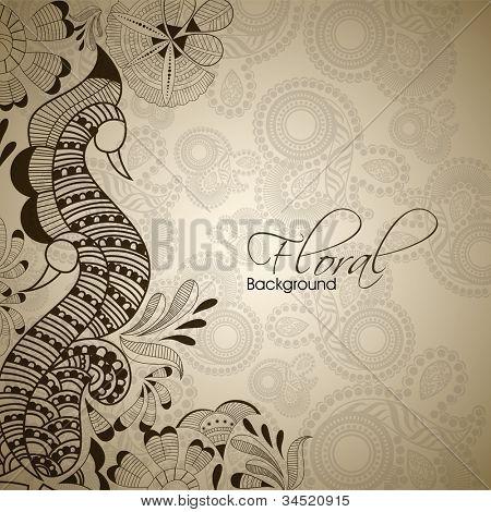 Cosecha Abstact floral con diseño de pavo real. EPS 10.