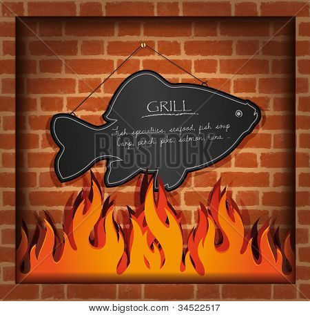 vector blackboard fish fireplace grill