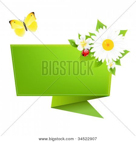 Origami With Butterfly, Isolated On White Background