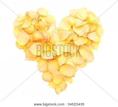 beautiful heart of orange rose petals isolated on white