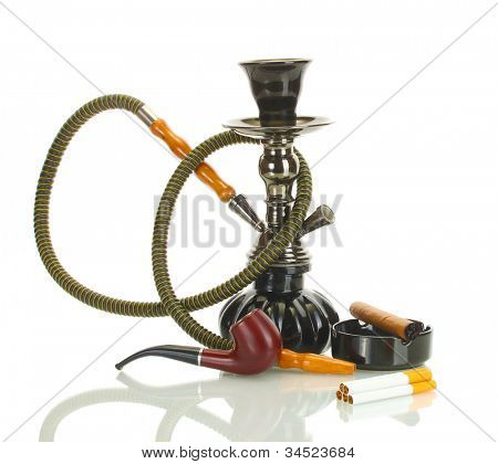 Smoking tools - a hookah, cigar, cigarette and pipe isolated on white background