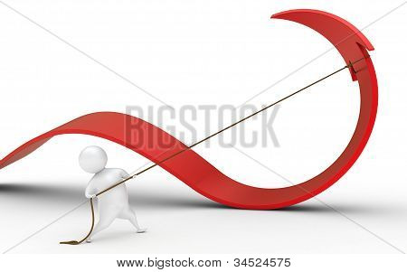 Cartoon 3d man pulling red arrow with rope