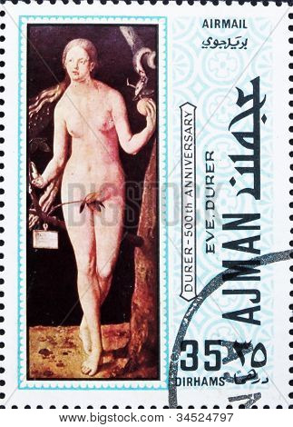 Postage stamp Ajman 1970 Eve by Albrecht Durer