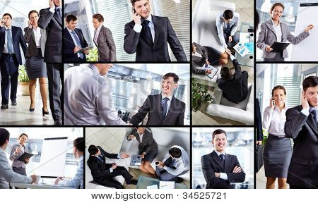 Various business situations presented as a collage