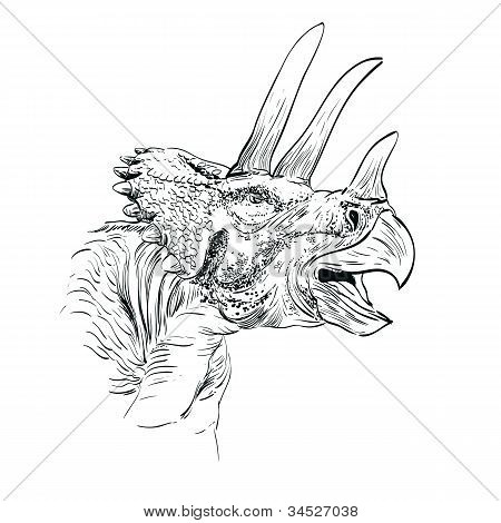 Triceratops Dinosaur Sketch  Vector  Illustration