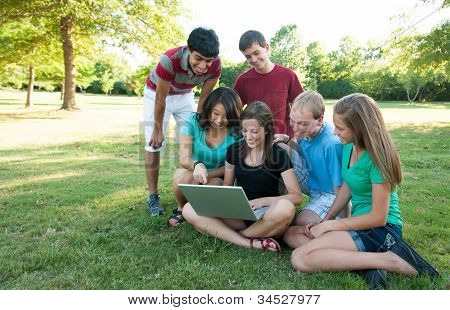 Muti-ethnic group of teens outside
